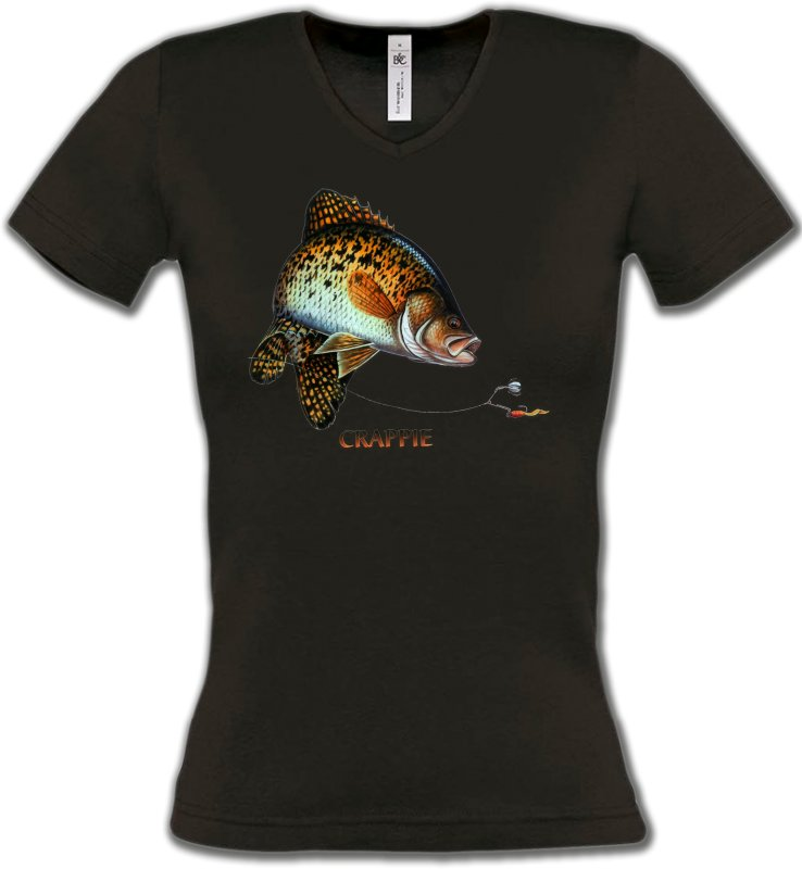 T-Shirts Col V FemmesPêcheCrappie
