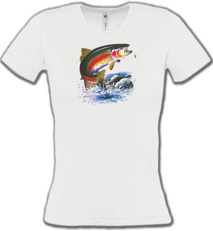 T-Shirts Col V FemmesPêcheTruite arc en ciel (A)