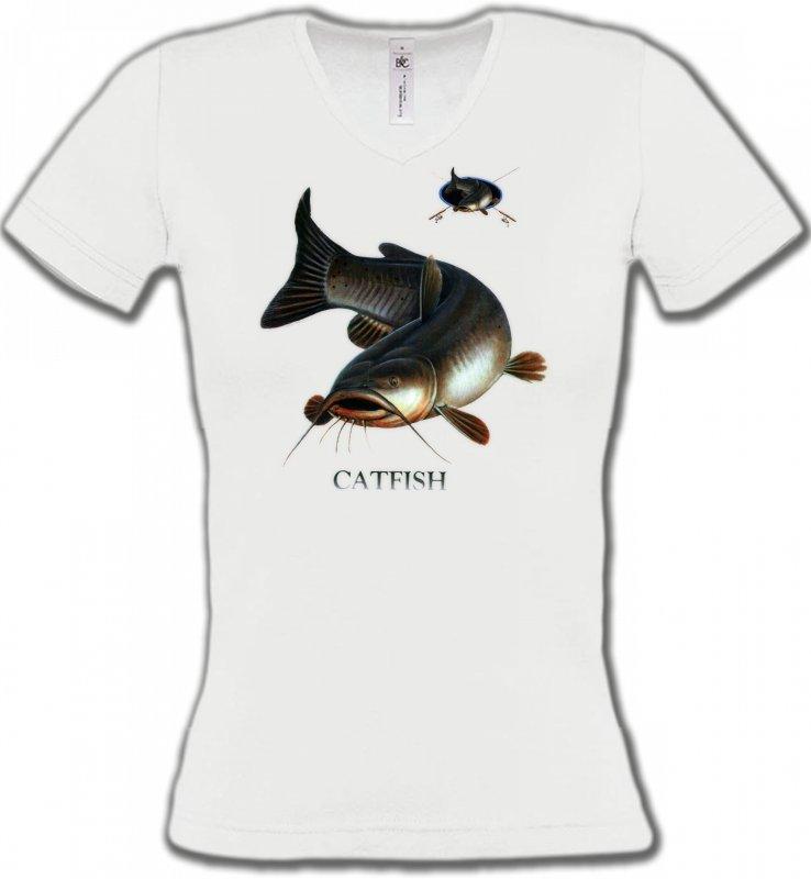 T-Shirts Col V FemmesPêchePoisson chat