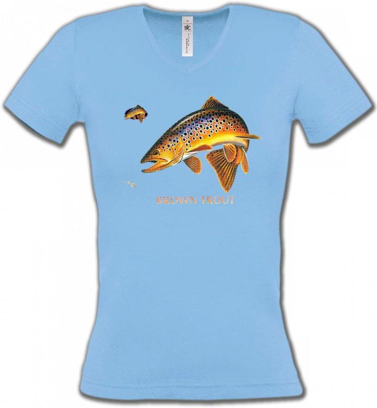 T-Shirts Col V FemmesPêcheBrown Trout