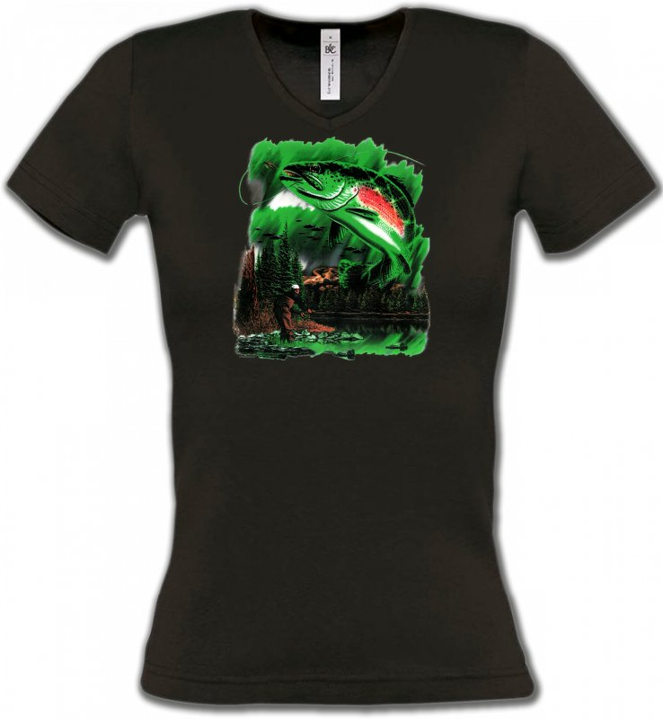 T-Shirts Col V FemmesPêcheTruite (D)
