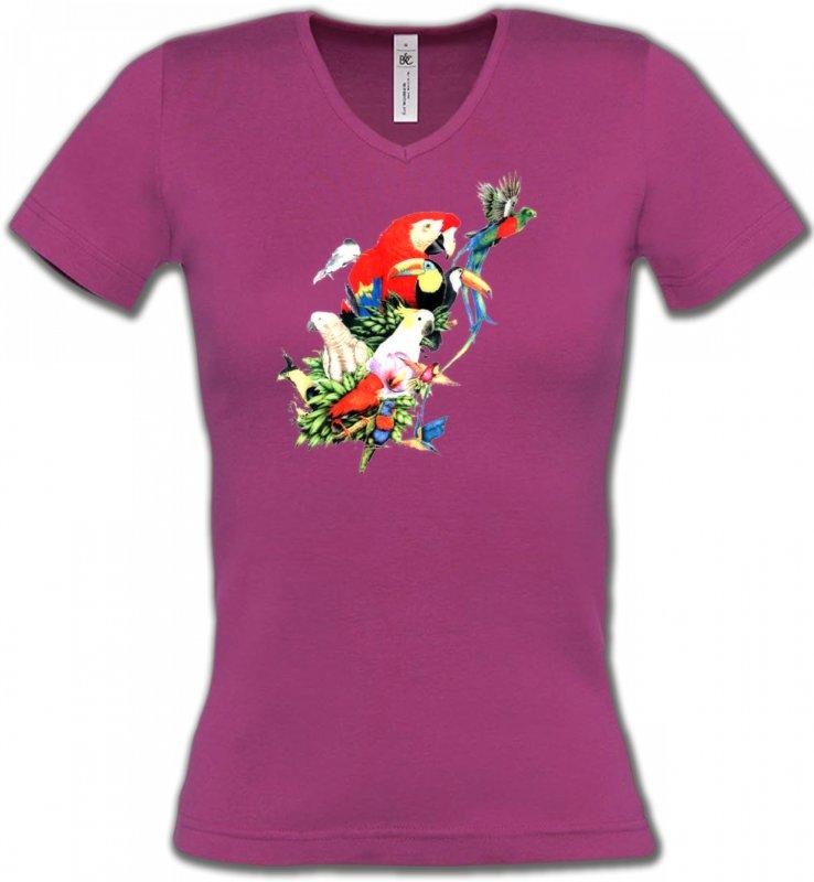 T-Shirts Col V Femmesoiseaux exotiquesToutes races de Perroquets (Q)