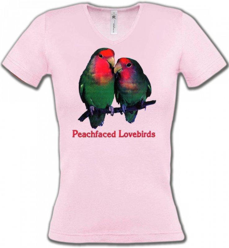 T-Shirts Col V Femmesoiseaux exotiquesPerroquet Inséparable Rosegorge (P)