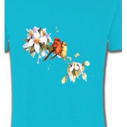 T-Shirts T-Shirts Col Rond Enfants Oiseaux couple de moineau (M)