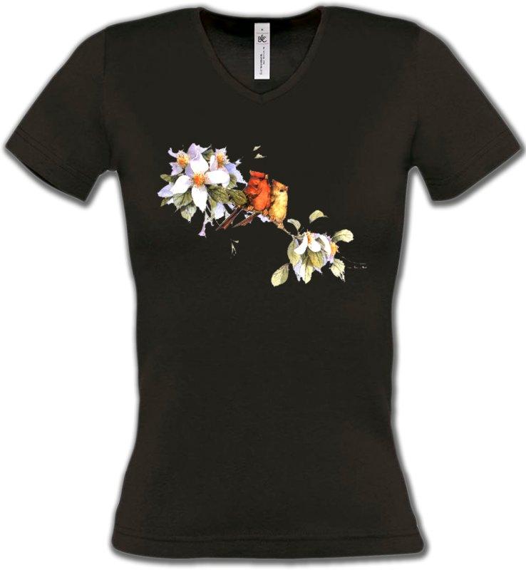 T-Shirts Col V FemmesOiseaux diversOiseaux couple de moineau (M)