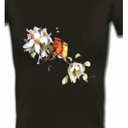T-Shirts T-Shirts Col V Femmes Oiseaux couple de moineau (M)