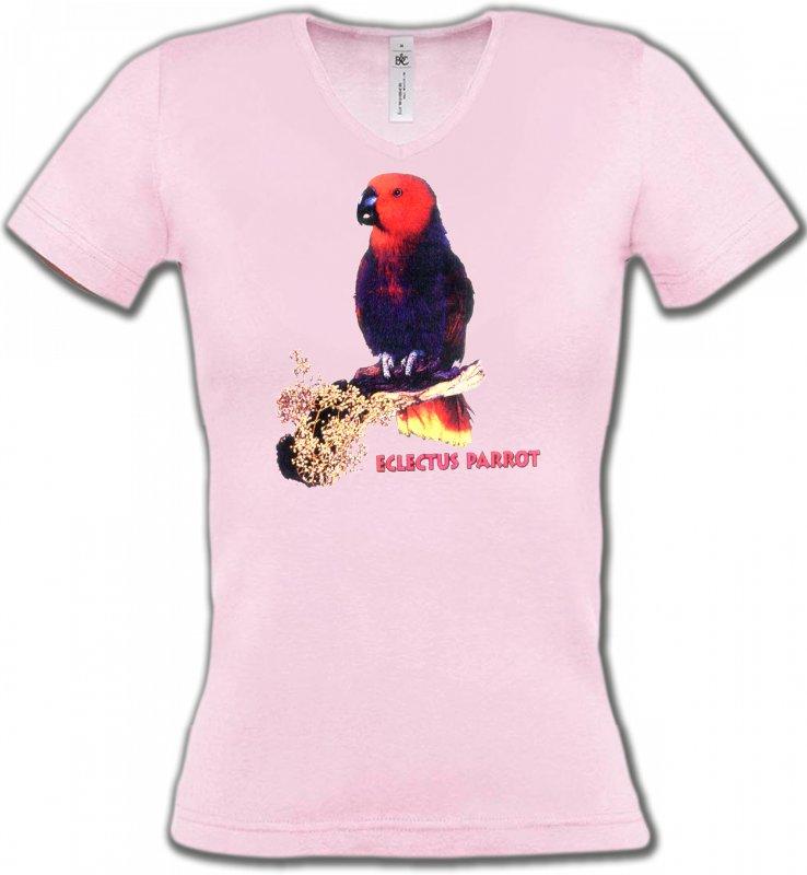 T-Shirts Col V Femmesoiseaux exotiquesPerroquet Electus femelle (I)