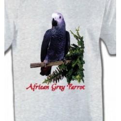T-Shirts T-Shirts Col Rond Enfants Perroquet Gris du Gabon (B)