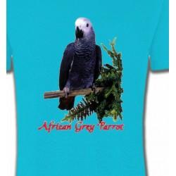 T-Shirts T-Shirts Col Rond Unisexe Perroquet Gris du Gabon (B)