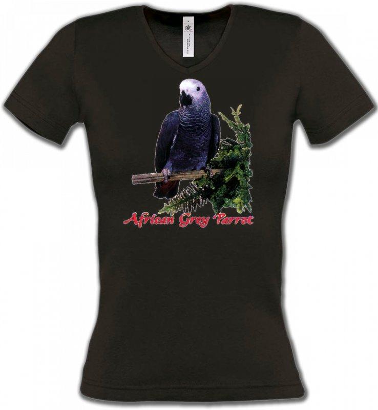 T-Shirts Col V Femmesoiseaux exotiquesPerroquet Gris du Gabon (B)