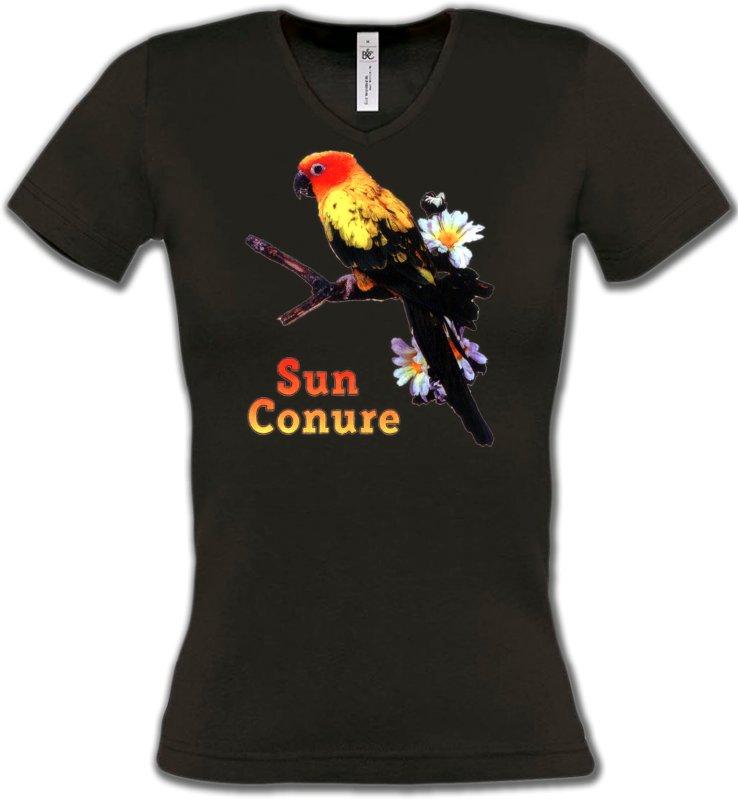 T-Shirts Col V Femmesoiseaux exotiquesPerroquet Conure Soleil