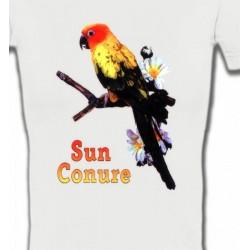 T-Shirts T-Shirts Col V Femmes Perroquet Conure Soleil