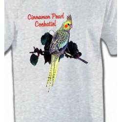 T-Shirts T-Shirts Col Rond Unisexe Perroquet Cockatiel Perlé (D)