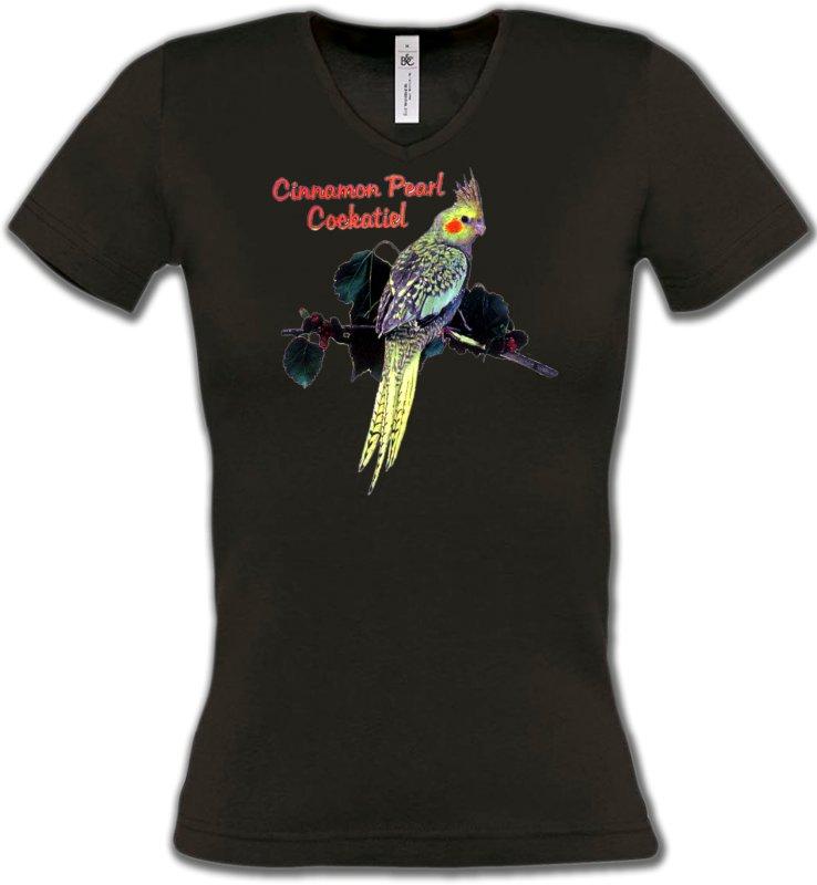 T-Shirts Col V Femmesoiseaux exotiquesPerroquet Cockatiel Perlé (D)