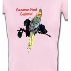 T-Shirts T-Shirts Col V Femmes Perroquet Cockatiel Perlé (D)