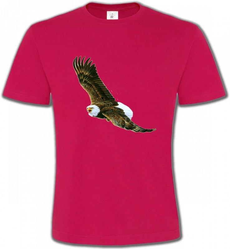 T-Shirts Col Rond UnisexeAiglesAigle en vol aigle pygargue à tête blanche