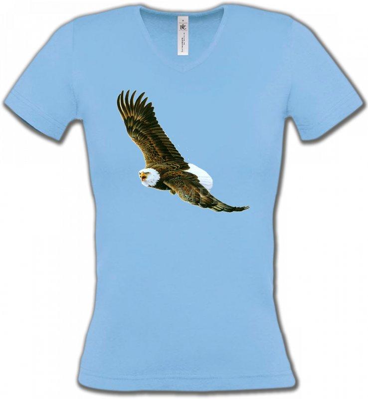 T-Shirts Col V FemmesAiglesAigle en vol aigle pygargue à tête blanche