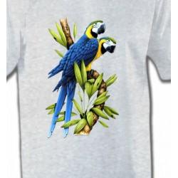 T-Shirts T-Shirts Col Rond Enfants Couple de perroquet Ara ararauna bleu (R)