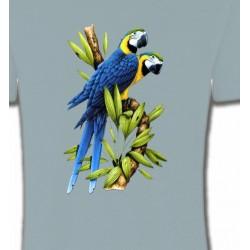 T-Shirts T-Shirts Col Rond Unisexe Couple de perroquet Ara ararauna bleu (R)