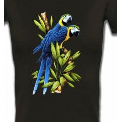 T-Shirts T-Shirts Col V Femmes Couple de perroquet Ara ararauna bleu (R)