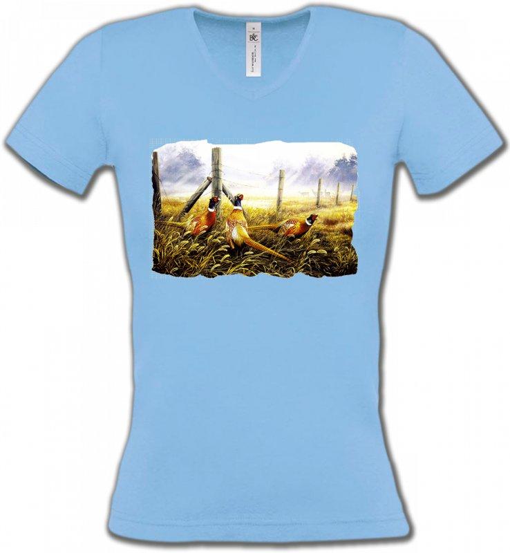 T-Shirts Col V FemmesOiseaux divers3 Faisans (X)