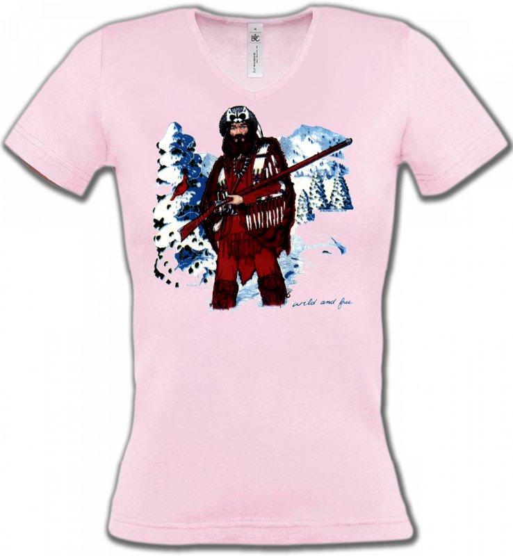 T-Shirts Col V FemmesIndien et AmérindiensIndien à la chasse (W)
