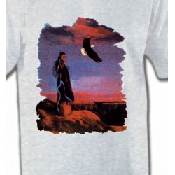 T-Shirts T-Shirts Col Rond Unisexe Indienne et aigle (S)