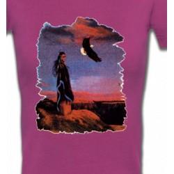 T-Shirts T-Shirts Col V Femmes Indienne et aigle (S)