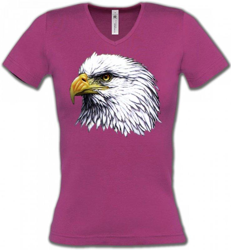 T-Shirts Col V FemmesAiglesTête d'aigle pygargue à tête blanche