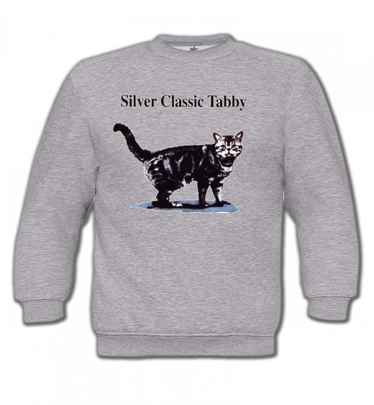 Sweatshirts Enfants Races de chats Chat tigré gris (Y)
