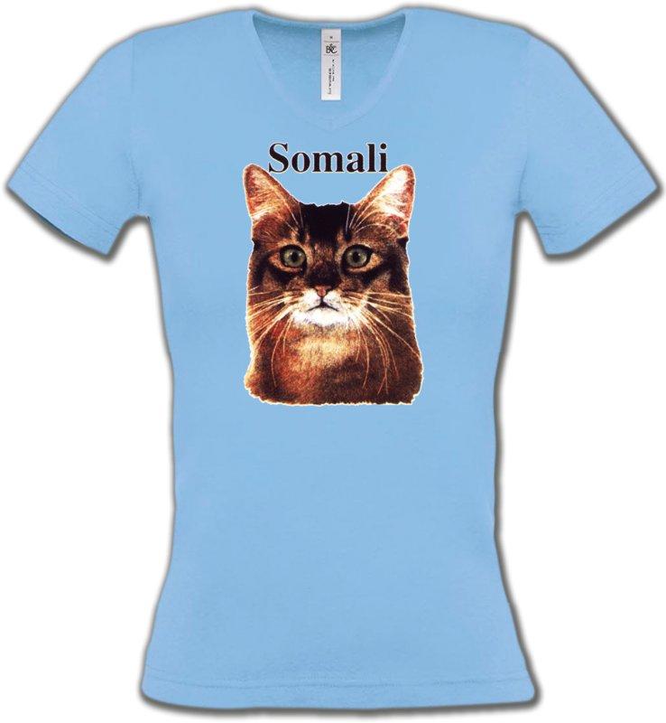 T-Shirts Col V FemmesRaces de chatsChat Somali (X)