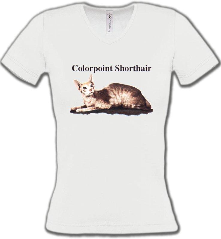 T-Shirts Col V FemmesRaces de chatsChat Siamois (N2)