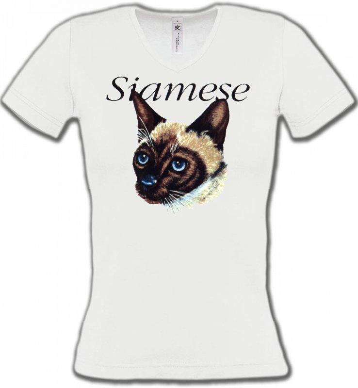 T-Shirts Col V FemmesRaces de chatsChat siamois (K2)