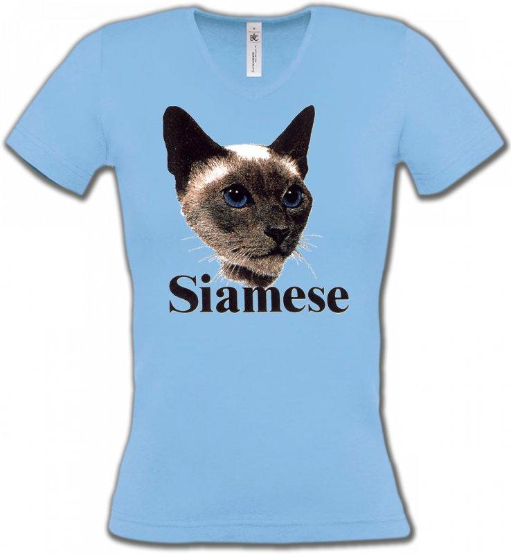 T-Shirts Col V FemmesRaces de chatsChat Siamois (J2)