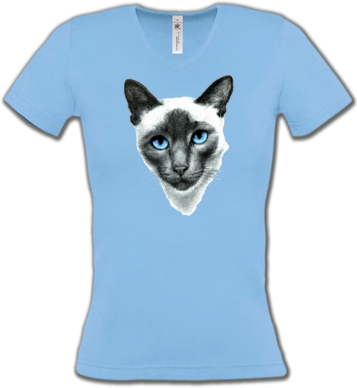 T-Shirts Col V Femmes Races de chats Chat Siamois (F2)