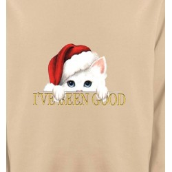 Sweatshirts Races de chats Chaton blanc avec bonnet de Père Noël (O)