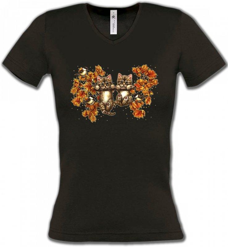 T-Shirts Col V FemmesRaces de chatsChatons (F)