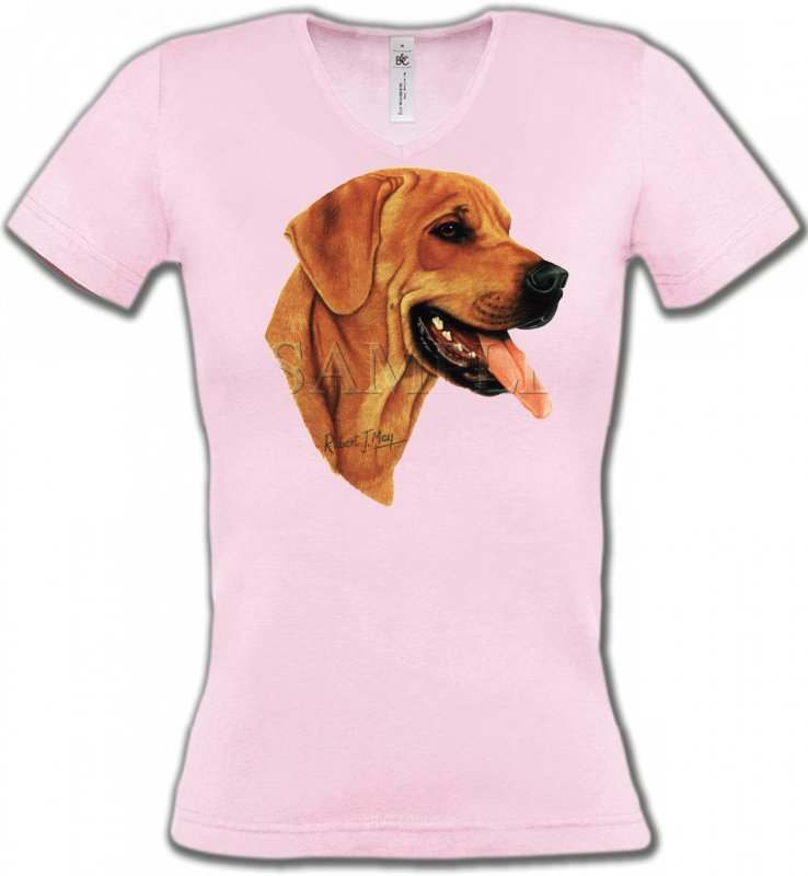 T-Shirts Col V FemmesLabradorLabrador sable (J)