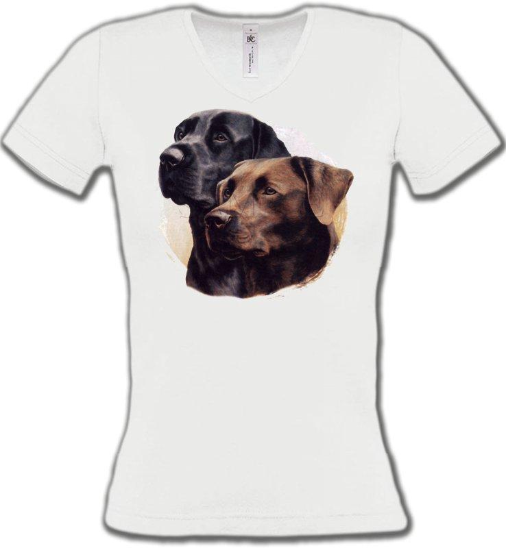 T-Shirts Col V FemmesLabradorLabrador noir et chocolat (A)