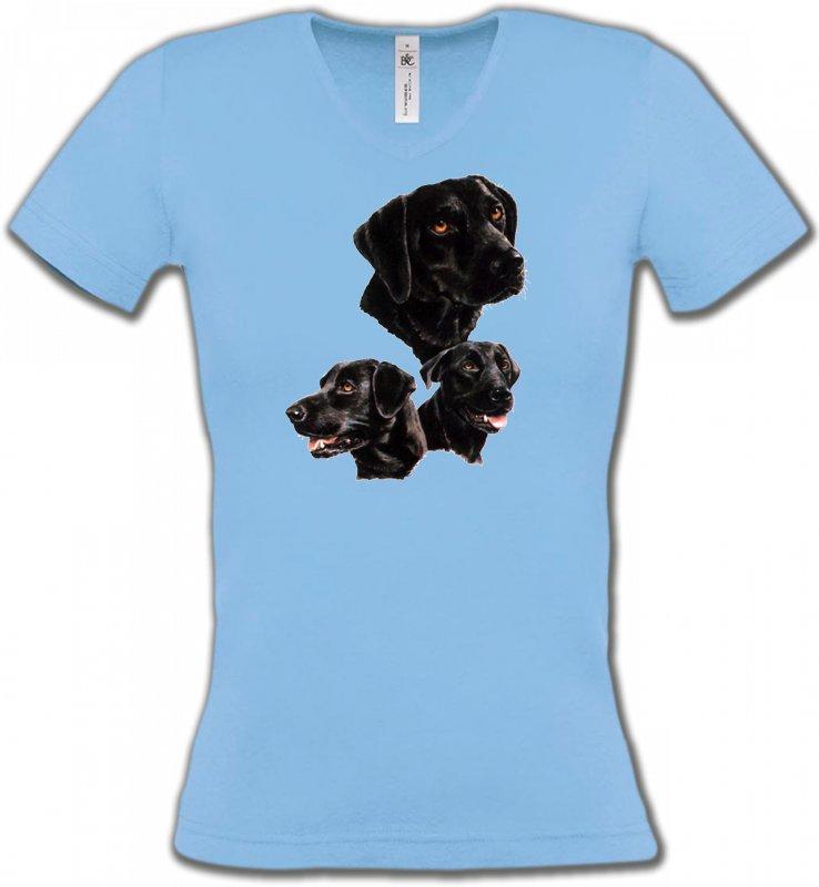 T-Shirts Col V FemmesLabradorLabrador noir (B)
