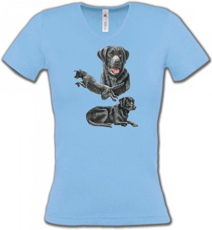T-Shirts Col V FemmesLabradorLabrador noir (C)