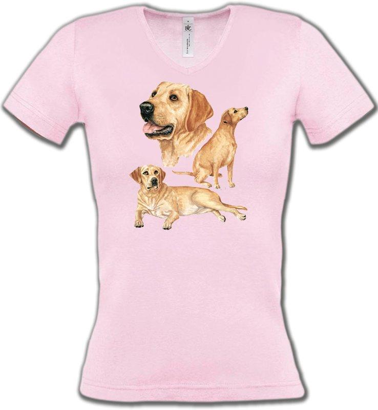 T-Shirts Col V FemmesLabradorLabrador sable  (E)