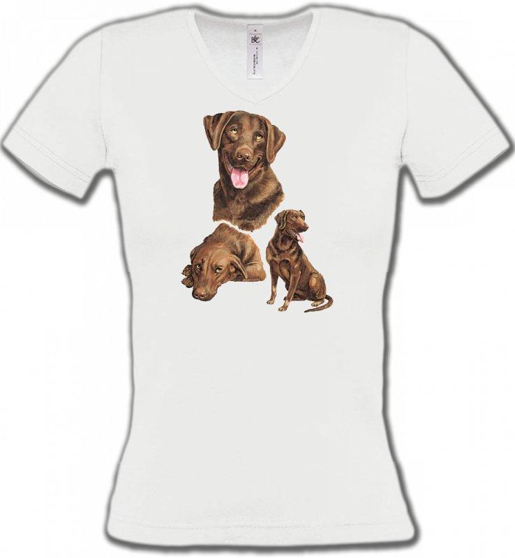 T-Shirts Col V FemmesLabradorLabrador chocolat  (F)