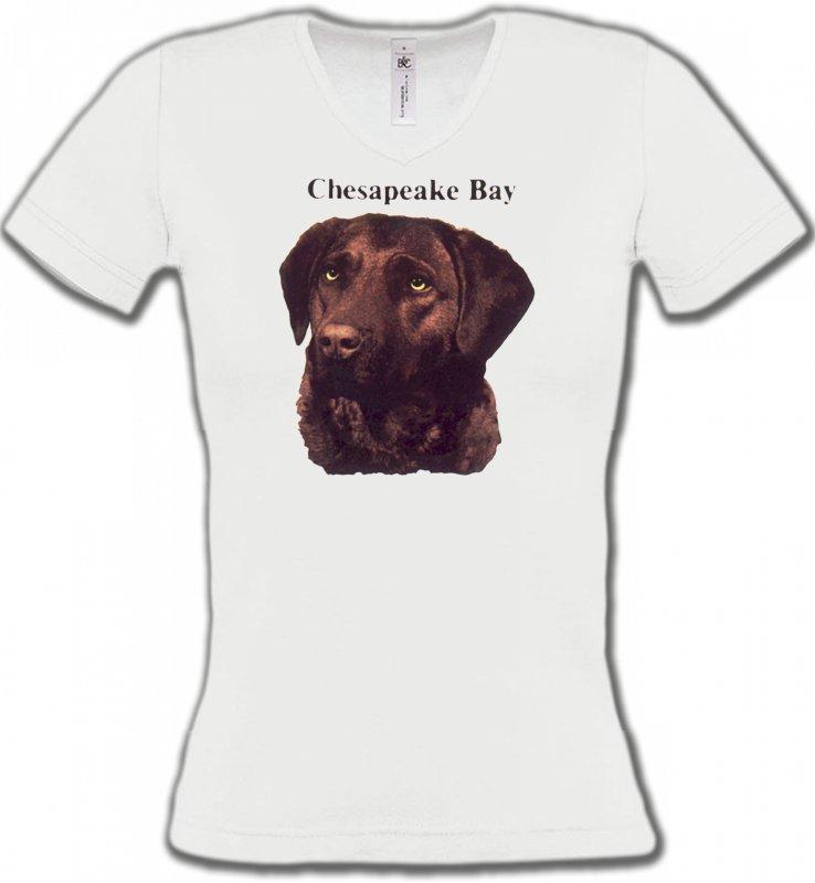 T-Shirts Col V FemmesLabradorLabrador chocolat (G)