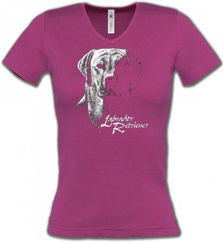 T-Shirts Col V FemmesLabradorLabrador noir et blanc (H)