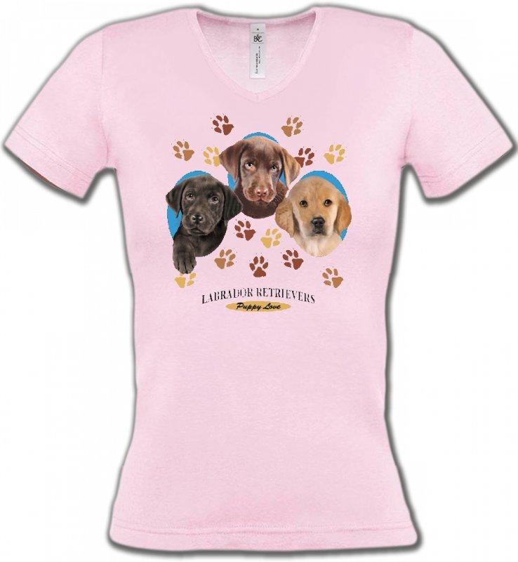 T-Shirts Col V FemmesLabradorBébés Labradors (U)