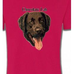 T-Shirts Races de chiens Tête de Labrador chocolat (W)
