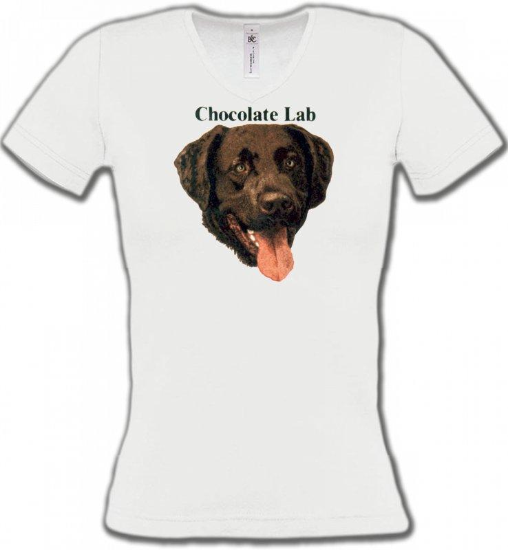 T-Shirts Col V FemmesLabradorTête de Labrador chocolat (W)