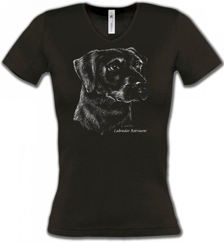 T-Shirts Col V FemmesLabradorLabrador noir  (X)