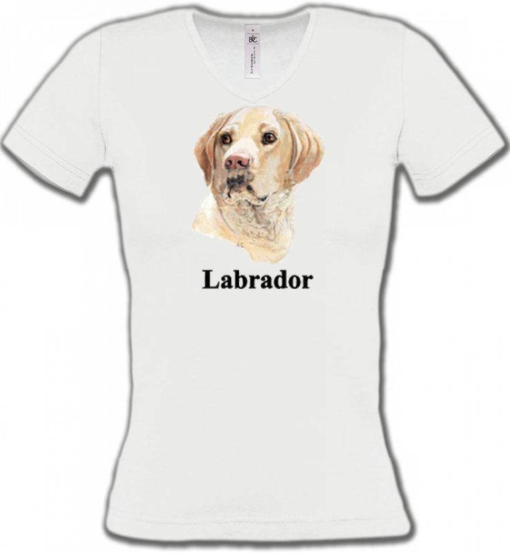 T-Shirts Col V FemmesLabradorTête de Labrador sable  (S)